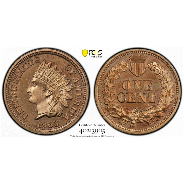 1863 1C Proof Indian Head Cent PCGS PR 64 CAC Approved Exceptional Coin !