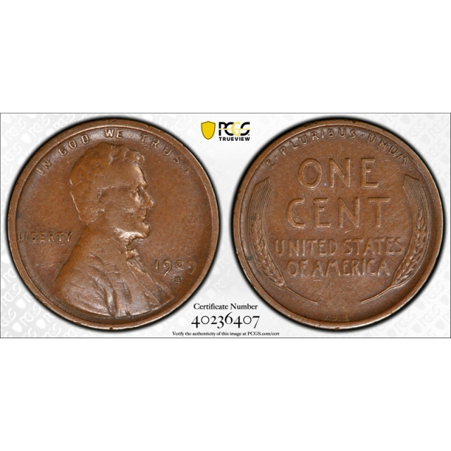 1909 S VDB 1C Lincoln Wheat Cent PCGS VF 30 Very Fine to Extra Fine CAC Approved