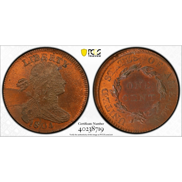 1804 1C Draped Bust Large Cent Private Restrike PCGS MS 65 RB Uncirculated Pop 1 !
