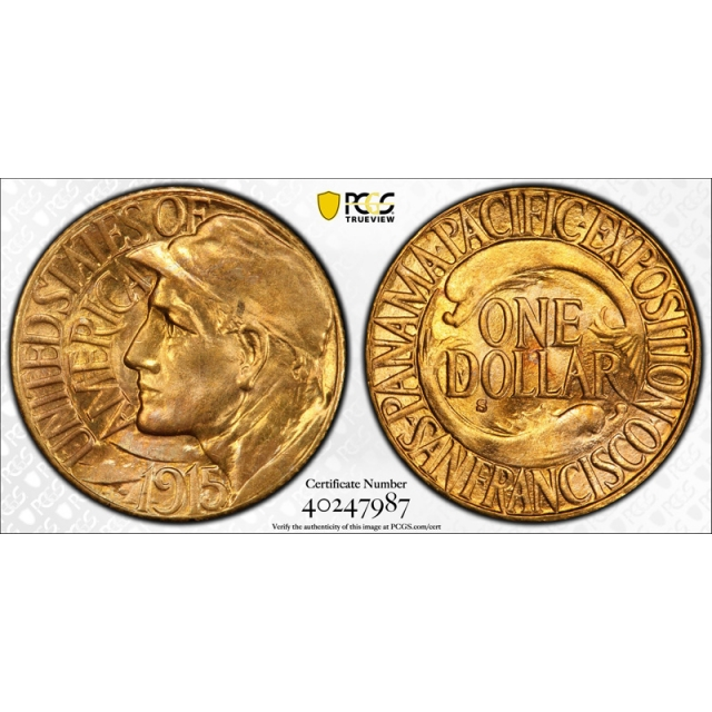 1915 S Panama Pacific G$1 Gold Dollar PCGS MS 65 Pan Pack Exceptional !