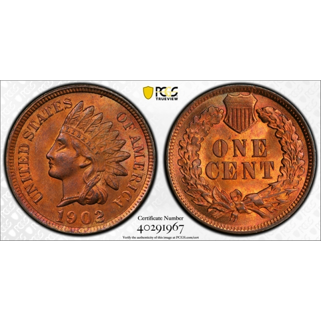 1902 1C Indian Head Cent PCGS MS 65 RB Uncirculated Die Gouge FS 401 S-4 CAC Top Pop