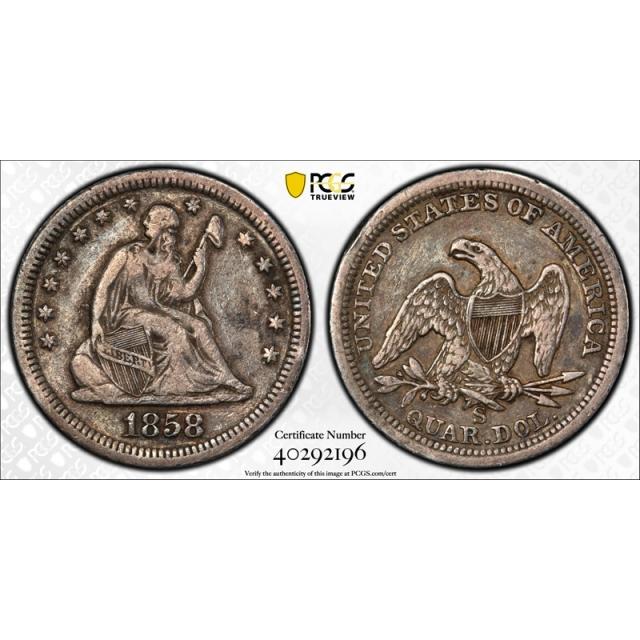 1858 S 25C Seated Liberty Quarter PCGS VF 20 Very Fine Key Date Tough !