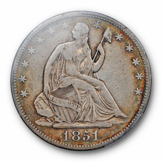 1851 O 50C Seated Liberty Half Dollar PCGS F 15 Fine to Very Fine Key Date Toned !