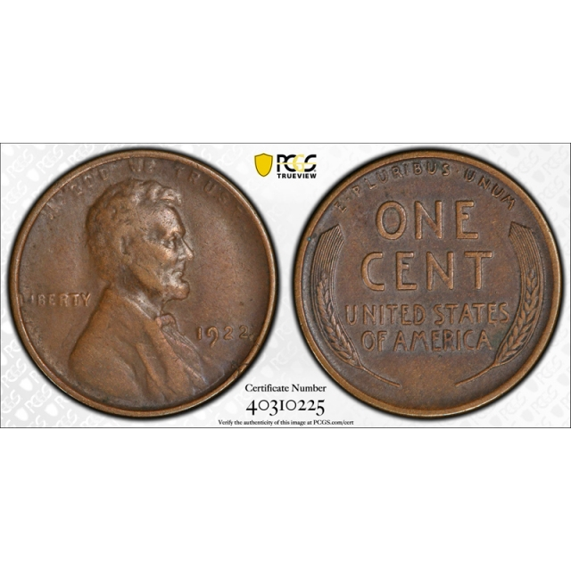 1922 No D 1C Strong Reverse Lincoln Wheat Cent PCGS XF 40 Extra Fine CAC Approved