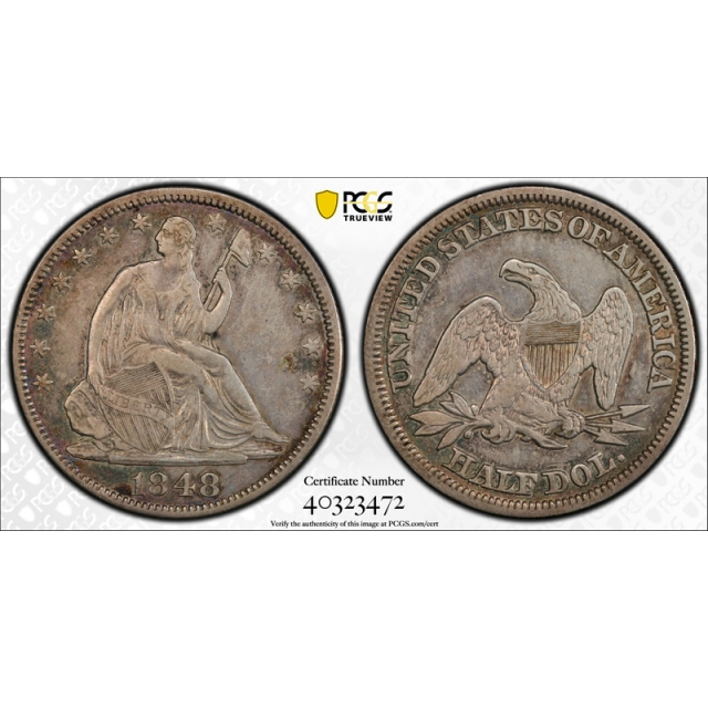 1848 50C Seated Liberty Half Dollar PCGS XF 40 Extra Fine Better Date !