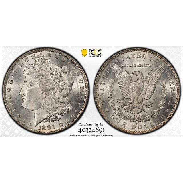 1891 CC $1 Morgan Dollar PCGS MS 62 Uncirculated Carson City Spitting Eagle VAM 4 Cert#4891