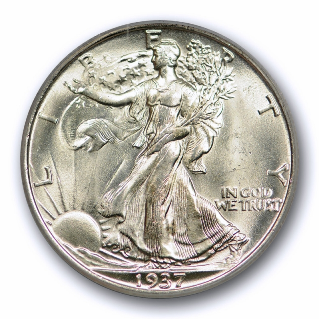 1937 S 50C Walking Liberty Half Dollar PCGS MS 65 Uncirculated Exceptional !