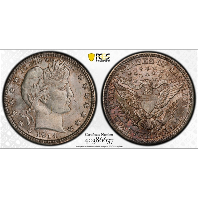 1914 25C Barber Quarter PCGS MS 65 Uncirculated Exceptional Coin !