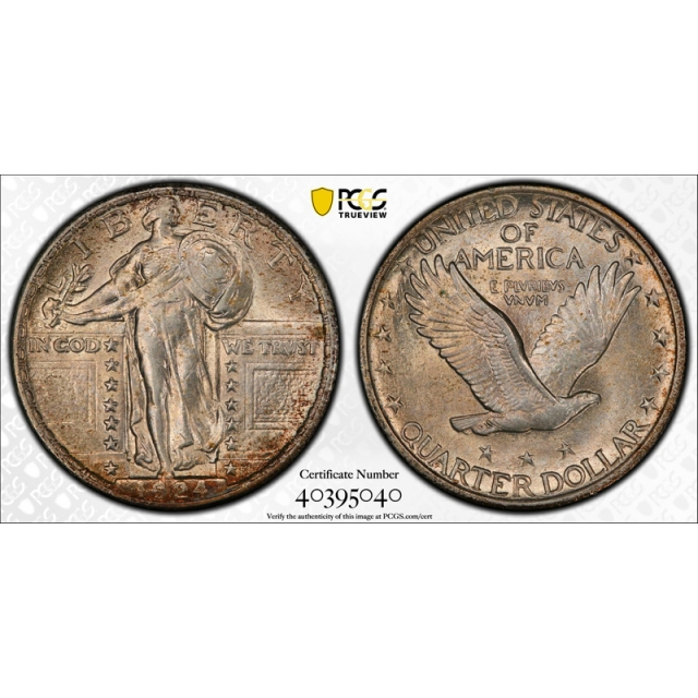 1924 25C Standing Liberty Quarter PCGS MS 62 Uncirculated Toned Pretty