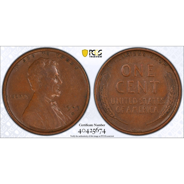 1909 S VDB 1C Lincoln Wheat Cent PCGS XF 45 Extra Fine to AU Key Date CAC !