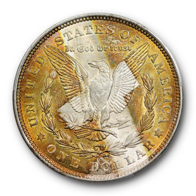 1921 $1 Morgan Dollar PCGS MS 62 Uncirculated 'The Reverse Cross' Toned Coin