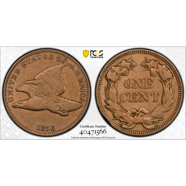 1856 1C Flying Eagle Cent PCGS PR VF Very Fine Details Proof Cleaned Key Date !