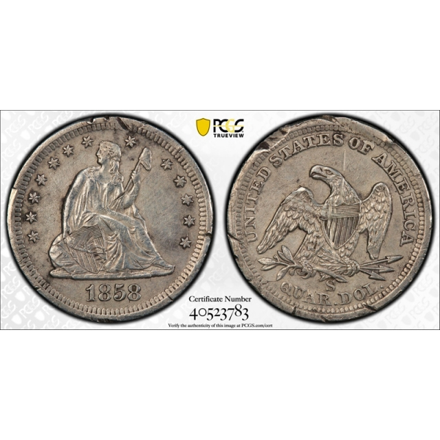 1858 S 25C Seated Liberty Quarter PCGS XF Extra Fine Details Damaged Key Date Coin