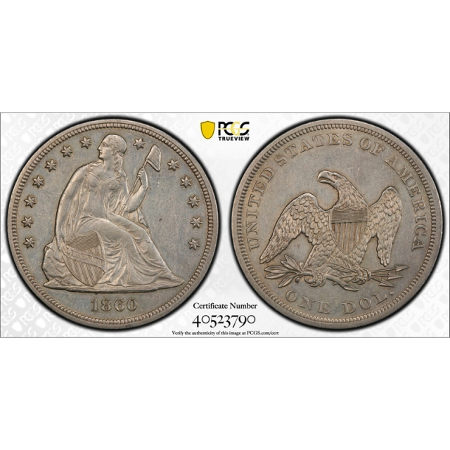 1860 $1 Seated Liberty Dollar PCGS AU About Uncirculated Details Tough Date !