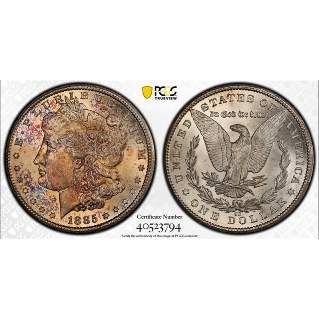 1885 CC $1 Morgan Dollar PCGS MS Uncirculated Details Pretty Toned Colorful