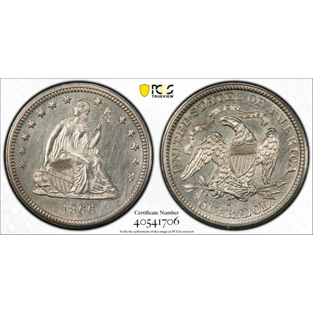1866 S 25C Seated Liberty Quarter PCGS MS Uncirculated Details Key Date RARE !