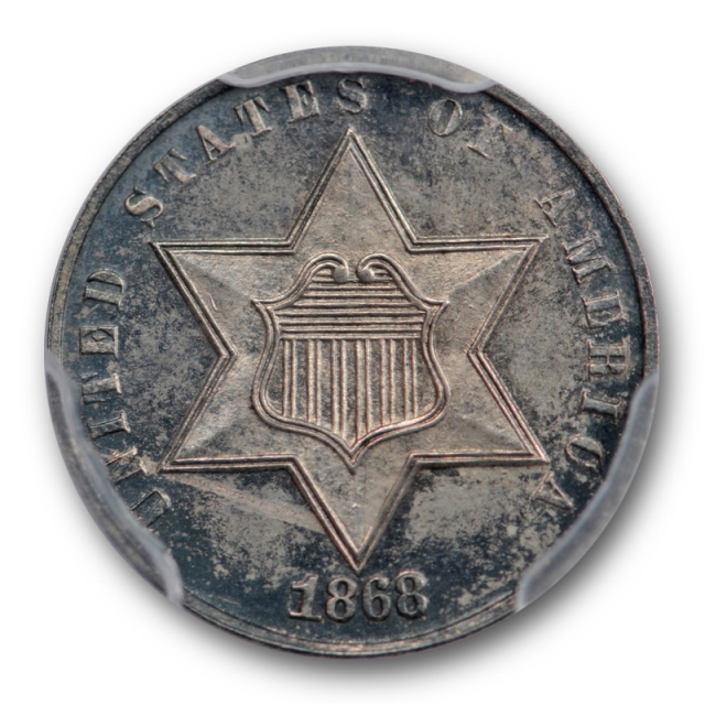 1868 3CS Three Cent Silver PCGS PR 63 Proof Original Toned Tough Key Date Coin !