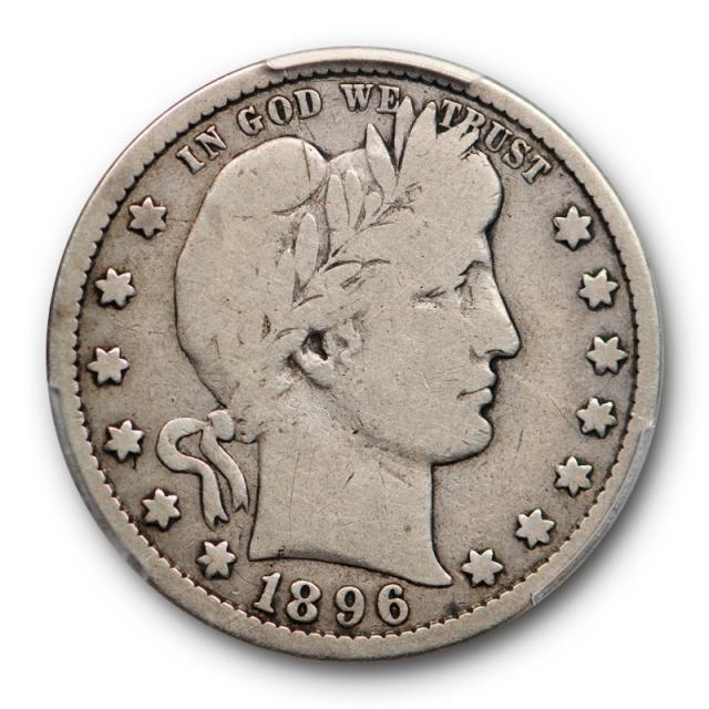 1896 S 25C Barber Quarter PCGS VG 8 Very Good Full Rims San Francisco Mint Key Date Cert#4887