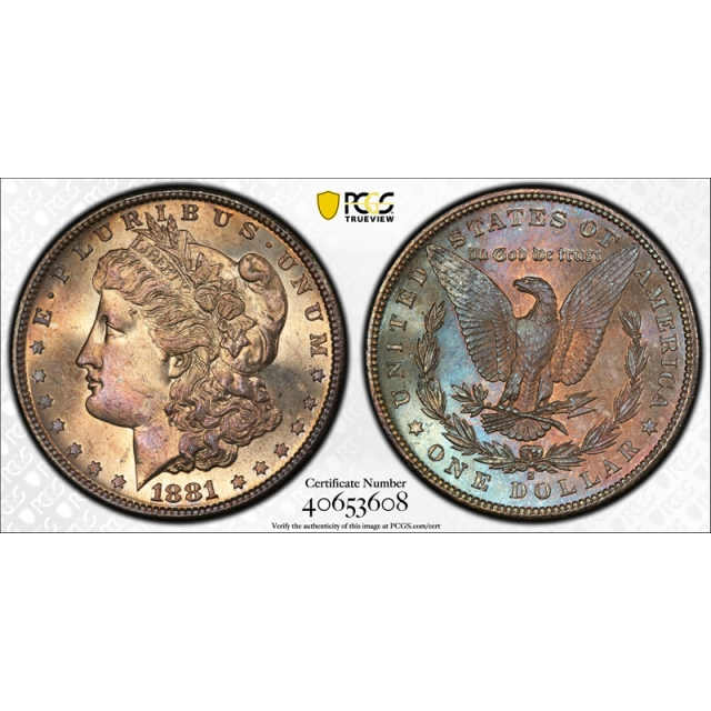 1881 S $1 Morgan Dollar PCGS MS 66 Uncirculated Colorful Toned Beauty Nice !