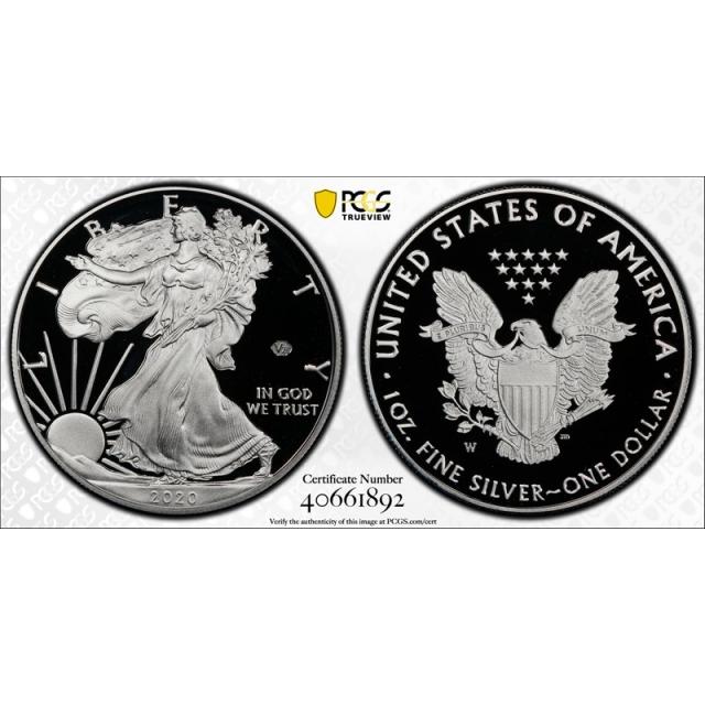 2020 W $1 Silver American Eagle PCGS PR 70 DCAM Privy Mark V75 WW11 First Strike