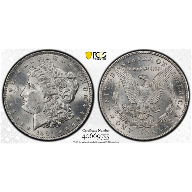 1891 CC $1 VAM 3 Morgan Dollar PCGS MS 62 Uncirculated Spitting Eagle TOP 100 Variety ! Cert#9755
