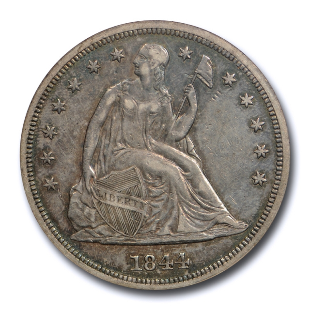 1844 $1 Seated Liberty Dollar NGC AU 50 About Uncirculated Key Date Toned