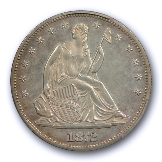 1872 50C Proof Seated Liberty Half Dollar PCGS PR 62 Attractively Toned Low Mintage