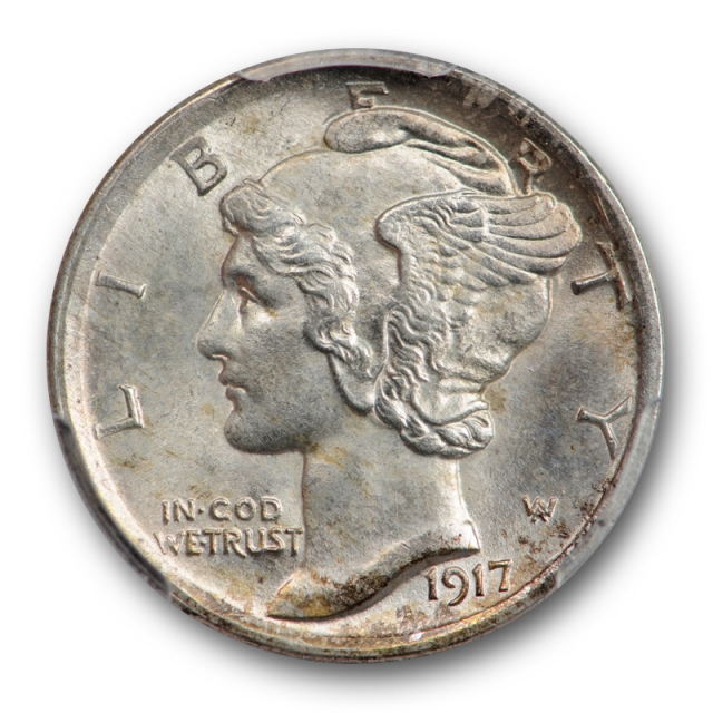 1917 10C Mercury Dime PCGS MS 65 FB Uncirculated Full Bands Lightly Toned Original