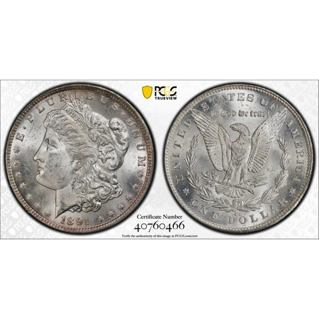 1891 CC $1 Morgan Dollar PCGS MS 63 Uncirculated Carson City Cert#0466
