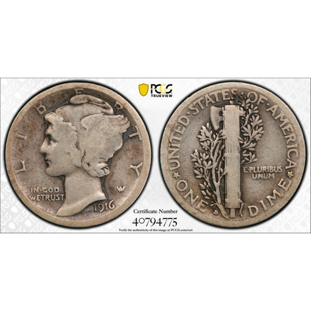 1916 D 10C Mercury Dime PCGS VG 8 Very Good Denver Mint Key Date CAC Approved ! Cert#4775