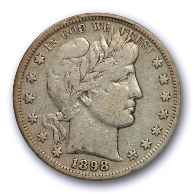 1898 S 50C Barber Half Dollar PCGS VF 25 Very Fine to Extra Fine Better Date
