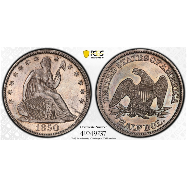 1850 50C Seated Liberty Half Dollar PCGS AU About Uncirculated Details