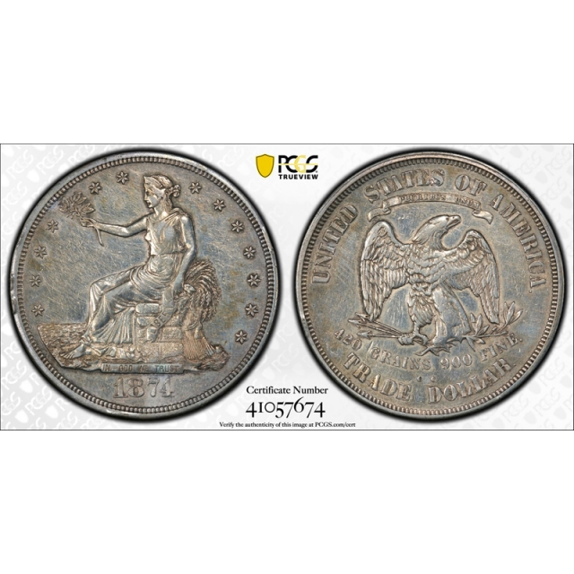 1874 CC $1 Trade Dollar PCGS XF Extra Fine Details Polished Carson City Mint Tough Date !