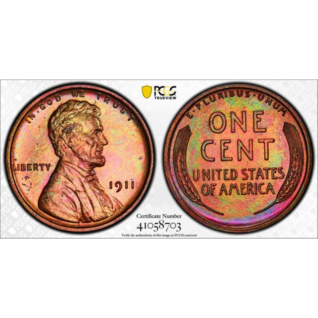 1911 1C Lincoln Wheat Cent PCGS PR 64 RB Proof Red Brown Colorful Toned Beauty !