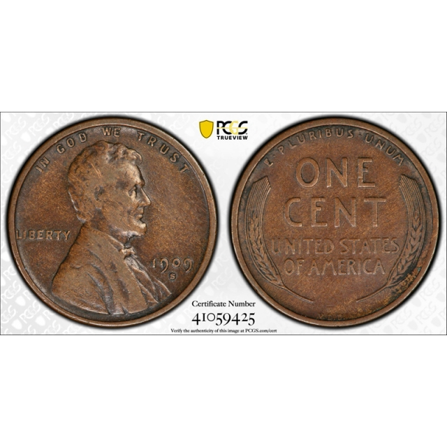 1909 S VDB 1C Lincoln Wheat Cent PCGS VF 25 Very Fine to Extra Fine Key Date Looks Better !