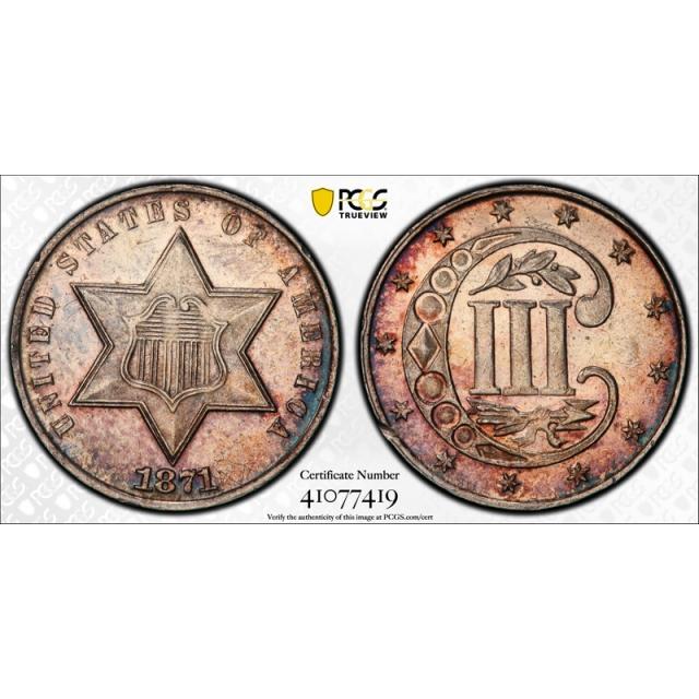 1871 3CS Three Cent Silver Piece PCGS PR Proof Uncirculated Details 'Rim Damaged'