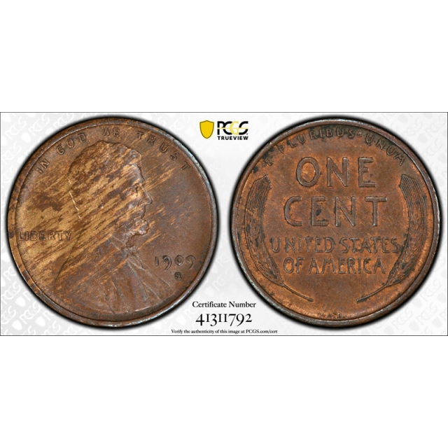 1909 S VDB 1C Lincoln Wheat Cent PCGS AU 53 About Uncirculated Key Date Wood Grain