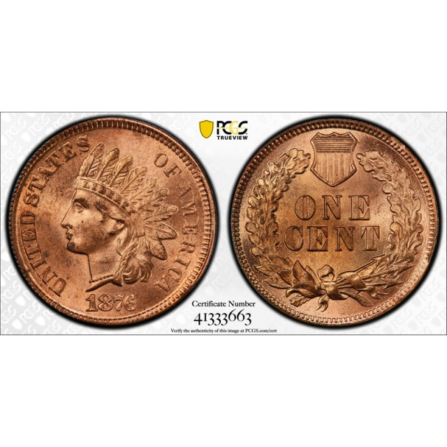 1876 1C Indian Head Cent PCGS MS 65 RD Uncirculated Full Red Tough Grade !