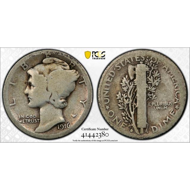 1916 D 10C Mercury Dime PCGS G 4 Good Denver Mint Key Date CAC Approved Cert#2380