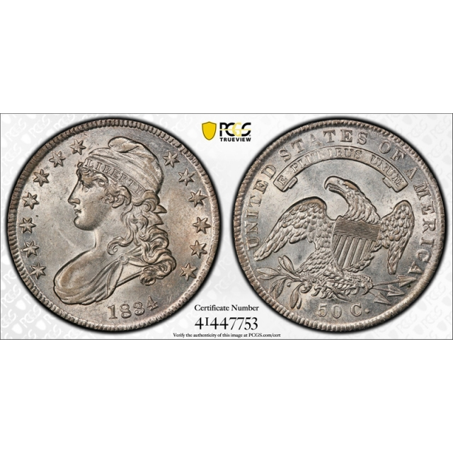 1834 50C Capped Bust Half Dollar PCGS AU 58+ Plus Grade Small Date, Small Letters