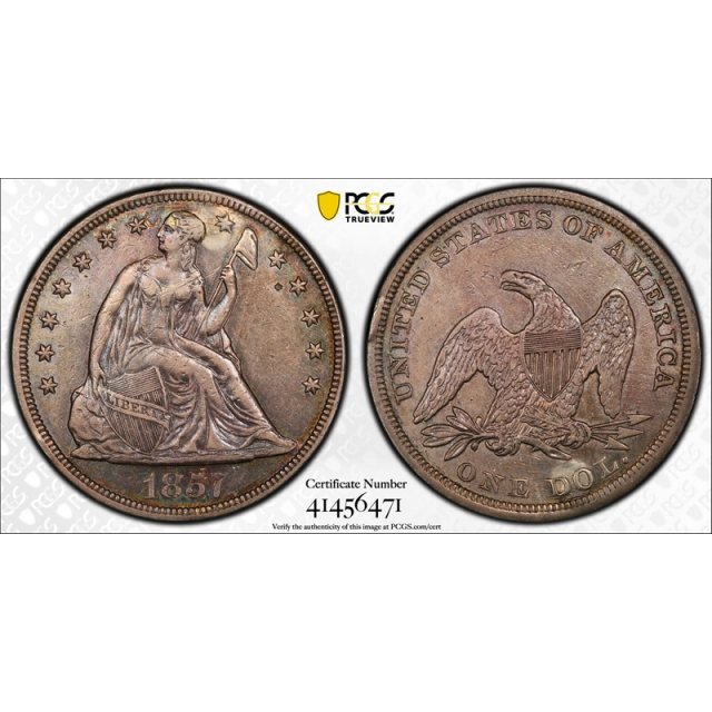 1857 $1 Seated Liberty Dollar PCGS XF Extra Fine Details Plugged Key Date Tough Coin !