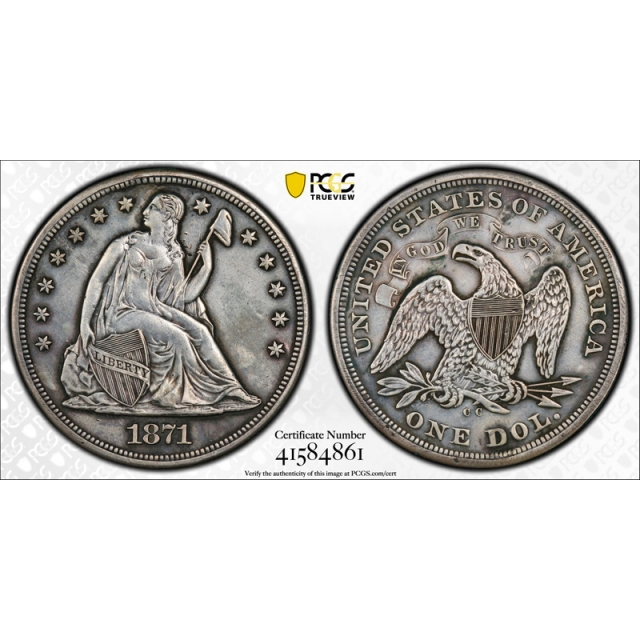 1871 CC $1 Seated Liberty Dollar PCGS XF Extra Fine Details Plugged Key Date Rare Coin !