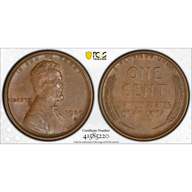 1909 S VDB 1C Lincoln Wheat Cent PCGS AU 55 About Uncirculated CAC Approved Cert#5220