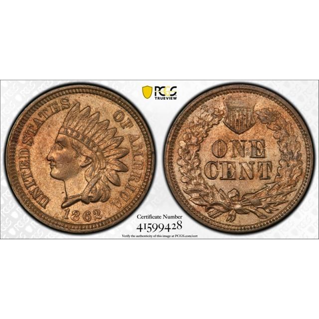 1862 1C Indian Head Cent PCGS AU 58 About Uncirculated Original Exceptional !
