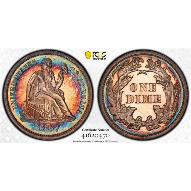 1867 10C Seated Liberty Dime PCGS PR 64 Proof Rainbow Toned Key Date !
