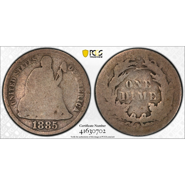1885 S 10C Seated Liberty Dime PCGS AG 3 About Good Key Date CAC Approved !