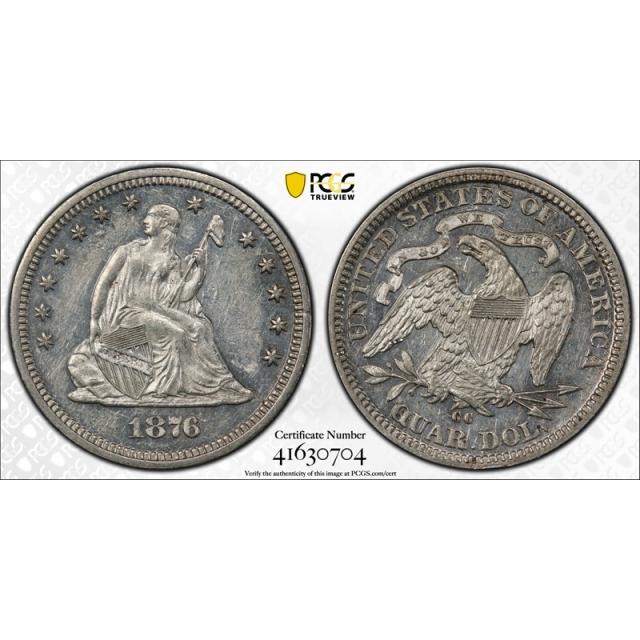 1876 CC 25C Seated Liberty Quarter PCGS AU 58 Carson City Proof Like PL (Not Designated)