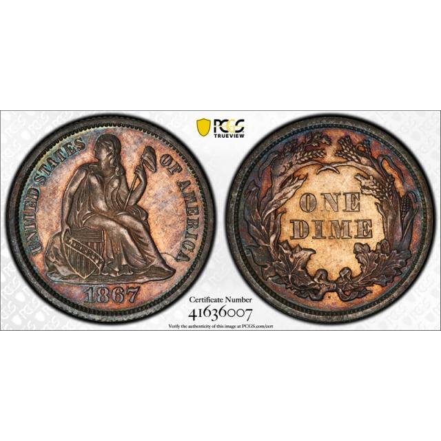1867 10C Seated Liberty Dime PCGS PR 62 Proof Key Date Low Mintage Cert#6007
