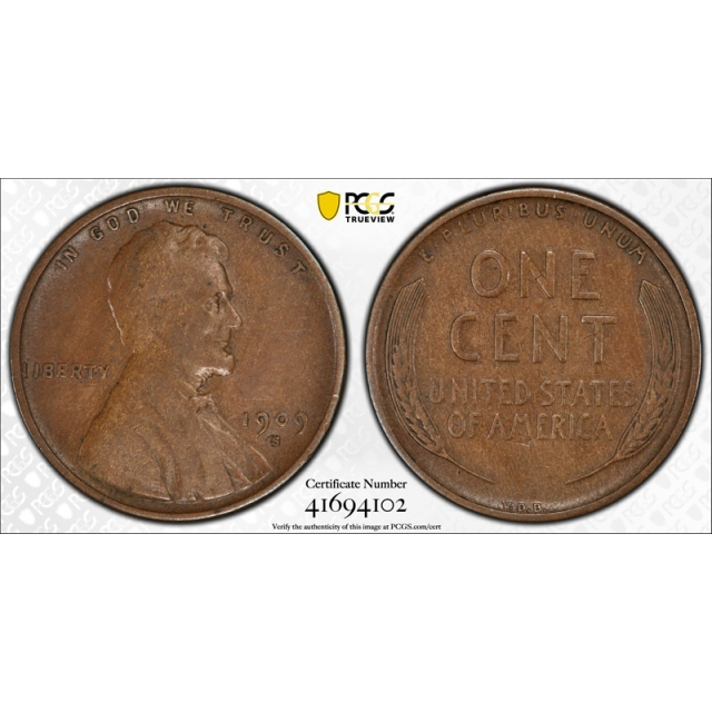 1909 S VDB 1C Lincoln Wheat Cent PCGS VF 30 Very Fine to Extra Fine Key Date ! Cert#4102