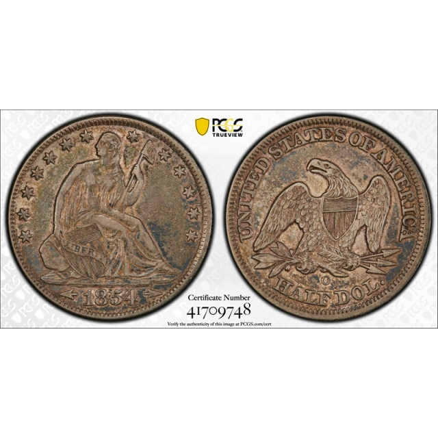 1854 O 50C Arrows Seated Liberty Half Dollar PCGS XF 45+ CAC Approved !